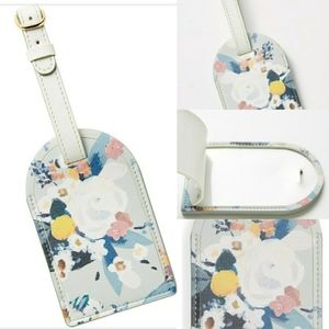 NEW ANTHROPOLOGIE GRAY FLORAL LUGGAGE NAME TAG